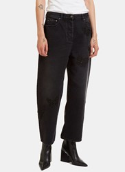 Valentino Butterfly Embroidered Boyfriend Jeans Black