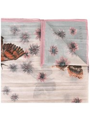 Valentino Butterfly Print Scarf Pink Purple