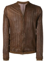 Salvatore Santoro Perforated Bomber Jacket Brown