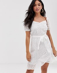 Influence Milk Maid Dress In Broderie Anglaise White