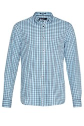 French Connection Men's Gingham Dot Shirt Blue