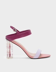 Charles And Keith Floral Lucite Heel Sandals Pink