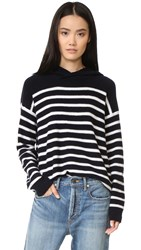 Vince Striped Cashmere Hoodie Coastal Off White