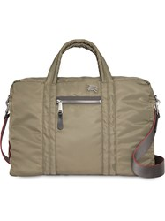 Burberry Ekd Aviator Nylon And Leather Briefcase Green