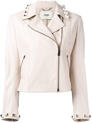 Fendi Studded Leather Cropped Jacket Nude Neutrals