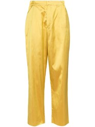 Marques Almeida Marques'almeida High Rise Straight Leg Trousers Yellow