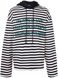 Juun.J Striped Text Detail Hoodie Men Cotton 50 Black