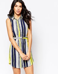 Parisian Sleeveless Shirt Dress In Mixed Stripe With D Ring Belt Yellow