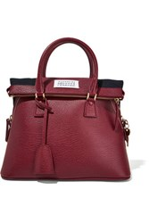 Maison Martin Margiela 5Ac Small Textured Leather Tote Burgundy