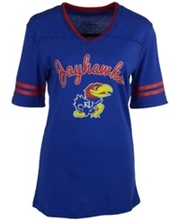 Colosseum Women's Kansas Jayhawks Fair Catch T Shirt Royal Blue