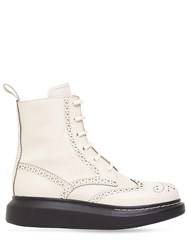 Alexander Mcqueen 40Mm Hybrid Brogue Leather Lace Up Boots Cream