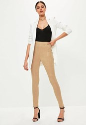 Missguided Tan Faux Suede Zip Hem Leggings