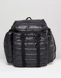 Asos Quilted Backpack In Black Black