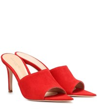 Gianvito Rossi Pointy 85 Suede Mules Red