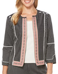 Rafaella Petite Textured Open Front Jacket Black