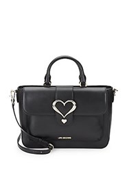 Love Moschino Heart Leather Satchel Black