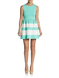 Saks Fifth Avenue Red Striped Ponte Fit And Flare Dress Mint Ivory