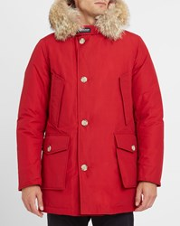 Woolrich Red Arctic Goose Down Fur Lined Hood Waterproof Parka