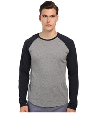 Vince Long Sleeve Slub Raglan Baseball Tee Heather Cinder Coastal Men's T Shirt Black