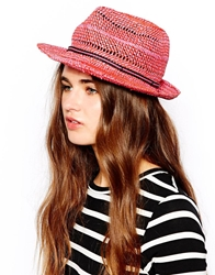 French Connection Daysha Straw Hat Pink
