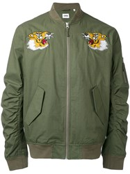 Edwin Tigers Bomber Jacket Men Cotton Nylon L Green