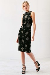 Ecote Zodiac Velvet Mock Neck Midi Dress Black Multi
