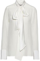 Jason Wu Woman Pussy Bow Charmeuse Trimmed Silk Crepe De Chine Blouse White