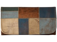 American West Groovy Soul Trifold Wallet Distressed Charcoal Brown Blue Sand Turquoise Light Turquoise Wallet Handbags Multi