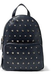 Red Valentino Studded Textured Leather Backpack Navy
