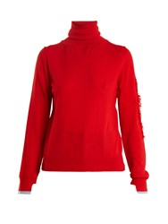 Barrie Thistle Roll Neck Contrast Panel Cashmere Sweater Red Multi
