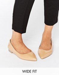 Asos Lacey Wide Fit Pointed Ballet Flats Nude Beige