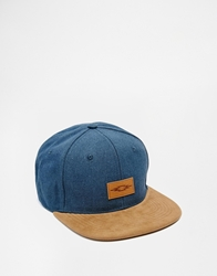 Asos Snap Back Cap With Contrast Peak Blue