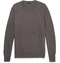 Lanvin Elbow Patch Distressed Wool Blend Sweater Brown