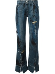 Dolce And Gabbana Vintage Distressed Safety Pin Detail Jeans Blue