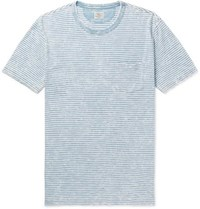 Faherty Striped Slub Cotton Jersey T Shirt Blue