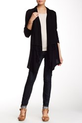 Cullen Long Sleeve Fringe Sharkbite Silk Blend Cardigan Black