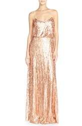 Women's Donna Morgan 'Courtney' Spaghetti Strap Sequin Blouson Gown Feather