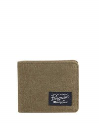 Original Penguin Waxed Canvas Bi Fold Wallet Olive
