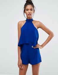 Influence Plisse Layer Playsuit Blue