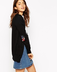 Asos Cardigan With Love Hate Elbow Patch Black