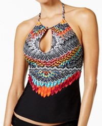 Jessica Simpson Dakota Printed High Neck Keyhole Halter Tankini Top Women's Swimsuit Black Multi