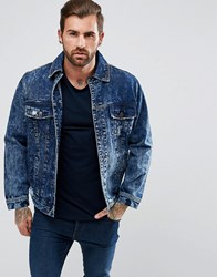 Illusive London Muscle Denim Jacket With Distressing Blue