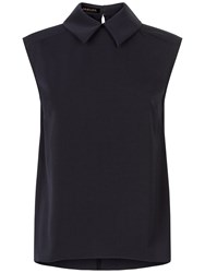 Jaeger Circle Hem Collar Detail Top Navy