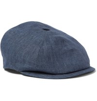 Lock And Co Hatters Linen Flat Cap Navy
