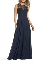 Hayley Paige Occasions 'S Lace And Chiffon Gown Navy