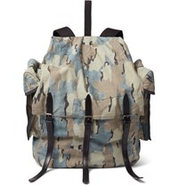 Dries Van Noten Leather Trimmed Camouflage Print Canvas Backpack Green