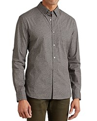 John Varvatos Star Usa Leopard Print Roll Sleeve Slim Fit Button Down Shirt Smoke Gray