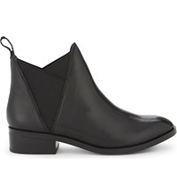 Aldo Scotch Leather Ankle Boots Black Leather