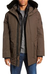 Ugg Butte Water Resistant Down Parka With Genuine Shearling Trim Dark Olive