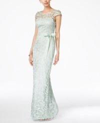 Adrianna Papell Cap Sleeve Illusion Lace Gown Mint
